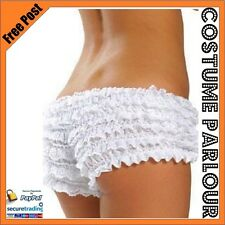 Womens Ladies White Ruffled Lace Bloomers Knickers Panties Lingerie Burlesque