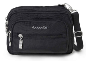 NWT BAGGALLINI Triple Zip Bagg CROSSBODY SHOULDER BELT BAG PURSE  Black
