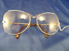 Vtg Cazal 80's rounded eye glasses frameless angular butterfly pink gold  EG11
