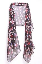 Black Red White& Blie 'Rio The Parrot In the Jungle' Print Sheer Scarf (S159)