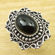Black Onyx Beautiful Gem ! 925 Silver Plated MADE IN INDIA Ring Size O 1/2 NEW