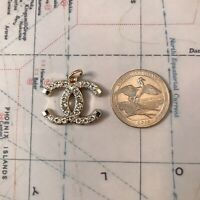 Chanel CC Logo stamped Clear Rhinestone Zipper Pull 25*20mm Metal