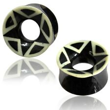 Wave Black /& White Organic Ear Tunnel Plugs Double Flare Sold Pair GOW29