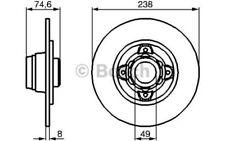 BOSCH Juego de 2 discos freno 238mm RENAULT MEGANE OPEL NISSAN 0 986 478 557
