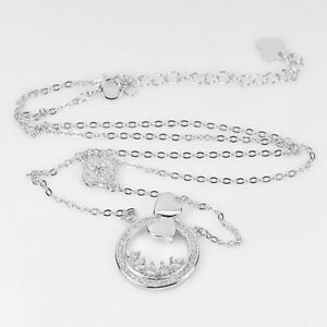 925 Sterling Silver Necklace Jewelry with White Round CZ Length 18 Inch.