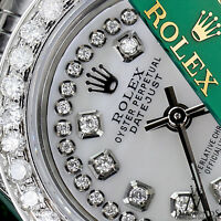 Ladies Rolex 31mm Datejust White MOP Mother Of Pearl String Diamond Dial Watch