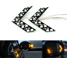 2x Rear View Side Mirror Amber SMD LED Arrow Panel Turn Signal Indicating Light