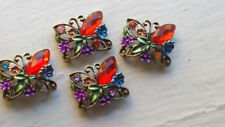 Red Rhinestone Jewel Beads, Butterfly Bead. 5 Pieces Sample Set. Jewelry Supply
