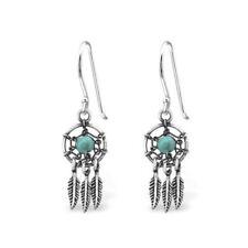 Pendientes de joyería ganchos turquesa de plata de ley