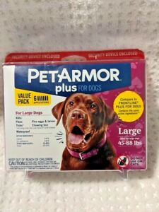 BrandNew Sealed Pet Armor Plus Large Dogs 45-88 lbs Flea & Tick 6 month treatmnt