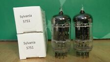 Pair of Sylvania 5751 Black Plate Triple Mica 1959/1960 Vacuum Tubes -8% matched