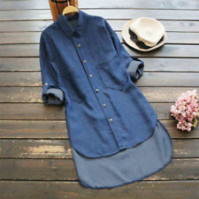 Plus Size UK Womens Denim Button Pocket Shirts Ladies Long Sleeve Blouse Tops