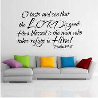 Psalm 34:8 Bible Verse Vinyl Wall Stickers Decals Scripture Quote Word Art Decor