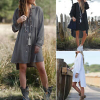 ZANZEA Women Lapel Long Sleeve Shirt Dress Casual Loose Tunic Blouse Mini Dress
