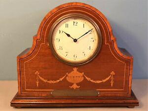 Antique Edwardian Inlaid Mahogany Mantel Clock French Movement 1921