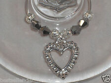 10 x Wine Glass Charms Silver Hearts Gift Bag All Occasions Accessories Handmade
