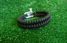 Black Adjustable Paracord Bracelet with Stainless Steel Shackle Fishtail Weave