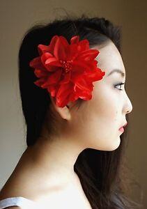 10 Large Hair Clips Flowers in Red Black White Pink Blue Orange Multi Purple