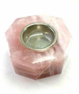 Natural rose quartz stone Candle holder tea light pink color light