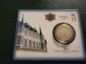 2 euros coincard Luxembourg 2014 50° anniversaire couronnement Grand Duc Jean
