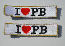 2x I LOVE PEANUT BUTTER PB  (Fault) Embroidery HOOK & LOOP Patch Badge APPLIQUE