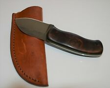 """6.25"""" knife Jarrett Fleming wood handle, green liners, with leather shealth"""