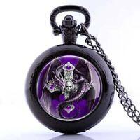 Steampunk Retro Skull Dragon Quartz Men Pocket Watch Necklace Chain Pendant Punk
