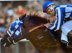 Secretariat signed photograph  Ron Turcotte autograph triple crown 1973 gold
