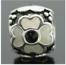 Pandora Sterling Silver Enamel White and Black Flower Charm