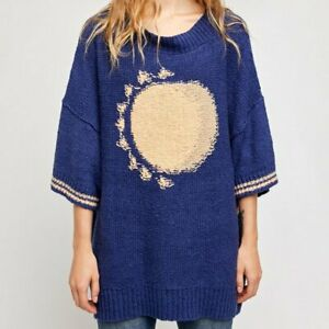 NWT Free People Opal Moon Sweater Jumper Midnight Moon Oversized Small Indie