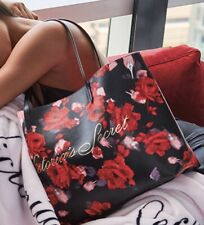 VICTORIA'S SECRET BLACK FLORAL RED ROSES PURSE HANDBAG LARGE TOTE SHOULDER BAG