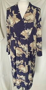Adini v neck crossover with button dress viscose/ lycra 3/4 sleeves waisted L-L2
