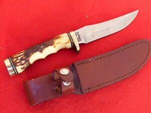 "Schrade USA Uncle Henry 9-3/8"" 153UH Golden Spike Fixed Blade knife & sheath"
