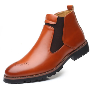 New Men's Brogue Chelsea Work Boots Pull On Carved Work Office Motorcycle Shoes