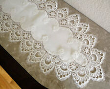 """Dresser Scarf Mantel DELICATE WHITE  Trim Lace Doily Mantle Runner  63"""" x 12"""""""