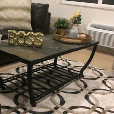 "Metal + stone Coffee Table - Black with wheels. 20"" x 47"" x 23"""