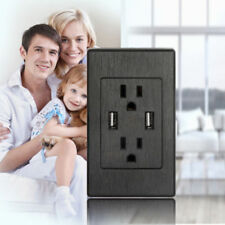 Dual Plug Electric Wall Socket Adapter With 2 USB Port Outlet Panel Switch US