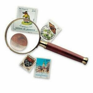 Lighthouse Handle Magnifier with glass lens, gold-plated metal rim, 3xmagnificat