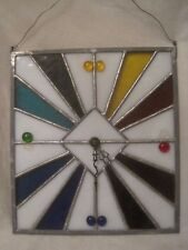 parts / repair vintage stained glass clock face rectangular color *incomplete