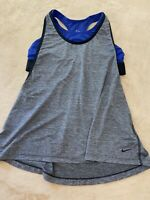 NIKE Woman's Size Large Grey Blue Athletic Tank Top  Built In Bra