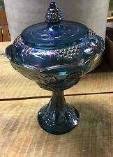 Compote Candy Dish w/ Lid Indiana Glass Harvest Grape Blue Carnival Iridescent
