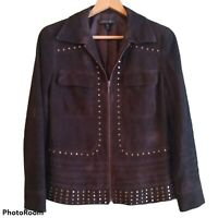 Lafayette 148 New York Brown Suede Jacket Womens Size 6 Gold Studded Zip Braided