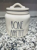 Rae Dunn Bone Appetit Farmhouse Ceramic Pet Dog Treats Canister with Lid NEW
