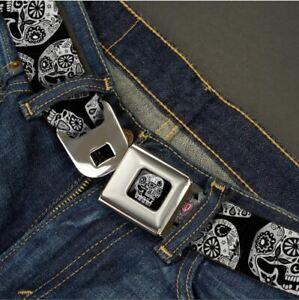 Buckle Down Seatbelt Belt - Thaneeya The Dust of Living Skulls Black & White USA