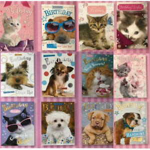 Pack Of 12 Kitten Puppy Cat Dog Birthday Greeting Cards for her Glitter Card
