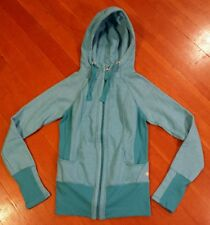 NEW Womens ACTIVE LIFE Turquoise Heathered Full Zip Hooded Sweater Jacket Size S