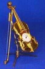 Vintage miniature brass Chello /Violin clock, NOT WORKING H:100mm [19727]