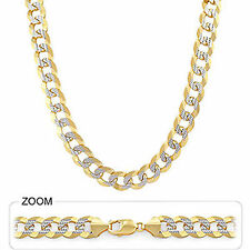 "79.00gm 14k Two Tone Gold Men's Heavy Cuban White Pave Chain Necklace 26"" 10 mm"