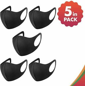 Pack 5 Face Mask Black Reusable Washable Breathable Dust Mouth Cover CHEAP UK