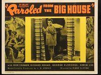 "Paroled From the Big House Jean Carmen ORIGINAL 1938 MOVIE LOBBY CARD 11"" x 14"""